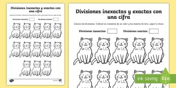 Ficha de actividad: Colorear por divisiones inexactas y exactas con una cifra - gatos - dividir, división, repartir, cifras, divide, division, sharing, figures, digits, escrito, escrita,