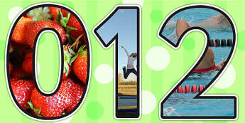 Healthy Living Themed Photo Display Numbers - healthy living