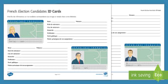 French Presidential Elections Candidates Identity Cards French - KS3, French, Presidential, Elections, présidentielles, identity, card, candidates, research, books,