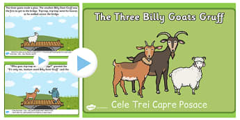 The Three Billy Goats Gruff Story PowerPoint Romanian Translation
