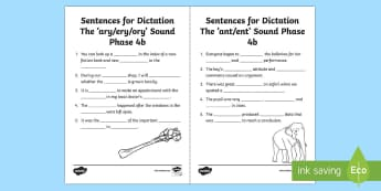 Northern Ireland Linguistic Phonics Stage 5 and 6, Phase 4b 'ary/ery/ory' and 'ant/ent' Dictation Sentences Activity Sheets  - NI, missing word, cloze, Worksheets, words, word endings, 'ary', 'ery', 'ory', 'ant', 'en