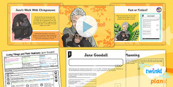 PlanIt - Science Year 5 - Living Things and Their Habitats Lesson 4: Jane Goodall Lesson Pack - chimpanzees, extinct, endangered, charity, persuade