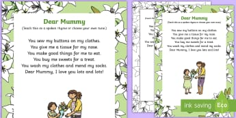 Dear Mummy Rhyme - Mother's Day, Flowers, dear mummy, rhyme, song, mummy