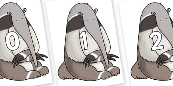 Numbers 0-100 on Anteater to Support Teaching on The Great Pet Sale - 0-100, foundation stage numeracy, Number recognition, Number flashcards, counting, number frieze, Display numbers, number posters