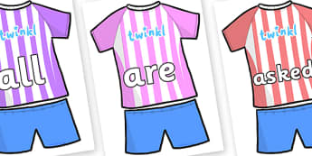 Tricky Words on Football Strip - Tricky words, DfES Letters and Sounds, Letters and sounds, display, words