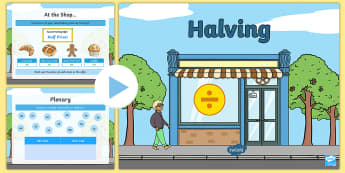 Halving PowerPoint - halving, half, problem solving, number, halving machine, even and odd, tens digit, bakery, half-pric