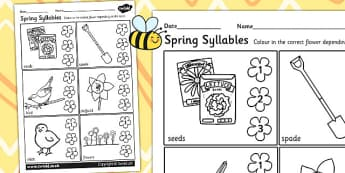 Spring Syllables Activity Worksheet - spring, syllables, seasons