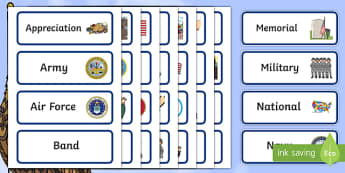 USA Veterans Day Vocabulary Word Cards