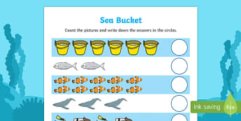 Sea Bucket Counting Sheet - sea bucket, billy's bucket, counting, count, activity