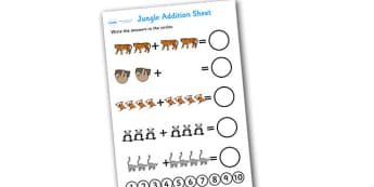 Jungle Addition Sheet - addition sheet, jungle themed addition sheet, jungle themed, jungle addition sheet, themed addition, jungle addition