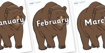 Months of the Year on Bear - Months of the Year, Months poster, Months display, display, poster, frieze, Months, month, January, February, March, April, May, June, July, August, September
