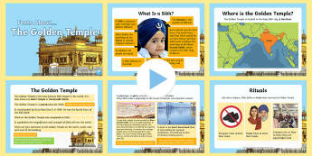 The Golden Temple Information PowerPoint - KS2, facts, Golden Temple, Guru, sacred, Sikh, khanda, Amritsar, gurdwara, sewadar, pangat, langar,