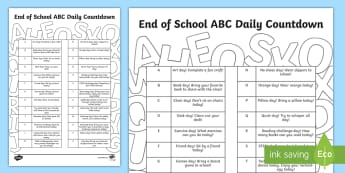 End of School Year ABCs Daily Countdown Activity Sheet - End of school, end of school year, end of the year, graduation, worksheet, transition