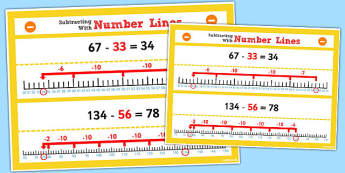Year 2 Subtracting 2 2-Digit Numbers and Tens Using Number Lines