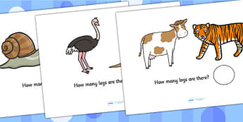 Animal Legs Addition Sheets - animals, addition, adding, maths