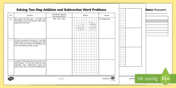 Solving Two-Step Addition and Subtraction Word Problems - brackets, rucsac, context, real life