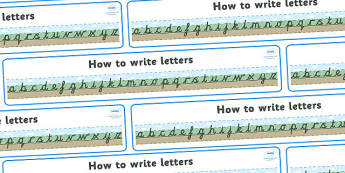 How to Write Letters Display Banner - Ground, Grass and Sky - Images - Display banner, writing, how to write, cursive, Handwriting, Writing aid, Learning to write