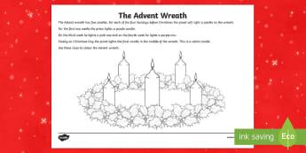 Advent Wreath Colouring Activity Sheet-Irish