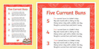 Amendment DS Template - Five Currant Buns Nursery Rhyme Sheet - five currant buns, nursery rhyme, sheet, nursery rhyme resco