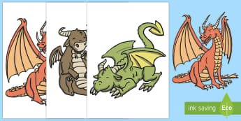 A3 Large Dragons Display Cut-Outs - Dragon Stick Puppets - stick puppets, puppets, dragon, dragons, pets, st george's day
