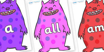 Foundation Stage 2 Keywords on Monsters - FS2, CLL, keywords, Communication language and literacy,  Display, Key words, high frequency words, foundation stage literacy, DfES Letters and Sounds, Letters and Sounds, spelling