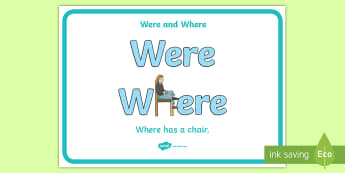 Were and Where Display Posters - B and D Display Posters, education, home school, child development, children activities, free, kids,