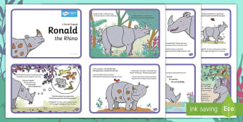 Ronald the Rhino Story Sequencing Cards - Children's Books, Ronald the Rhino, children's book, story, Leopard, Python, unique, friend, frien