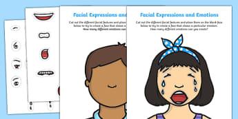 Facial Expressions and Emotions Activity Sheet, worksheet