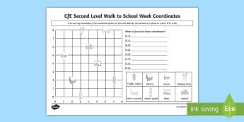 CfE Second Level Walk to School Week Coordinates Activity Sheet - CfE Walk to School Week 2017 (15th-19th May) JRSO, Coordinates, worksheet, MTH 2-18a, activity sheet