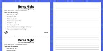 Burns Night Creative Writing Activity - Elderly, Reminiscence, Care Homes, Burns' Night