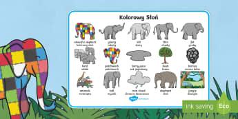Elmer Word Mat Images Polish Translation - polish, Elmer, Elmer the elephant, resources, Elmer story, patchwork elephant, PSHE, PSE, David McKee, colours, patterns, story, story book, story book resources, story sequencing, story resources, word mat,