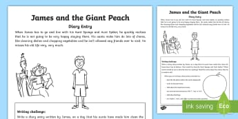 James and the Giant Peach   Living with Sponge and Spiker Writing Activity Sheet-Scottish - Literacy, writing, Roald Dahl, Diary, creating texts, Sponge, Spiker,Scottish