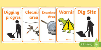 Fossil Hunter Role Play Signs - fossil, role play, dinosaurs