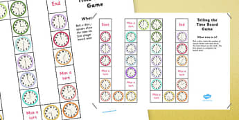 Differentiated Telling the Time Board Game - telling the time, board game, tell, time, game, activity