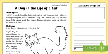 A Day in the Life of a Cat Writing Activity Sheet  - Amazing Fact Of The Day, activity sheets, powerpoint, starter, morning activity,April, amazing fact