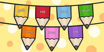Colours on Pencil Bunting German - colours, pencil, bunting, german, display