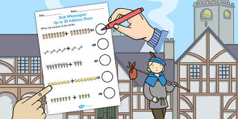 Dick Whittington Up to 20 Addition Sheet - stories, add, maths