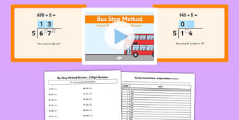 Formal Division 3 Digit Numbers Bus Stop Method Pack - formal division, 3 digit, numbers, bus stop, method, pack