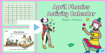 Phase 4 April Phonics Activity Calendar PowerPoint - April, April Fools, jokes, spring theme, phonics, calendar, monthly, reading, spelling, sorting, tri
