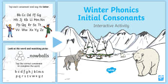 Winter Phonics Initial Consonants Interactive PowerPoint - Winter, consonants, phonics, initial sounds