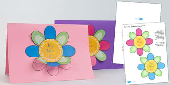 Mothers Day Flap Flower Card Craft - mothers, day, flap, flower, card