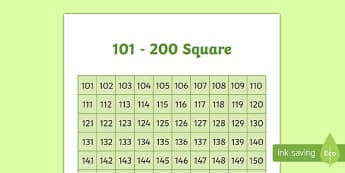 101 200 Square - squares, numbers, number, visual aids, maths