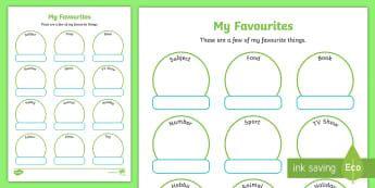 My Favourite Things Activity Sheet - Back to School, getting to know you, all about me, transition, start of the year, worksheet, Austral