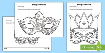 Feuilles de coloriages : Les masques vénitiens - Carnaval - FR Mardi Gras (Mardi Gras KS1) 28th February,French, colouring, coloriage, masques, février.