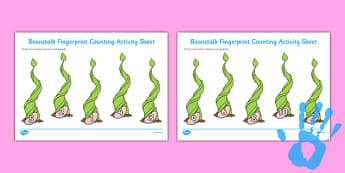 Beanstalk Fingerprint Counting Activity Sheet Pack - EYFS activities, number, EAD, plants, fruit, growth, Jack and the Beanstalk, Jasper's Beanstalk, worksheet