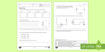 KS3 Current Electricity Homework Activity Sheet - Homework, electricity, current, voltage, potential difference, series, parallel, resistance,workshee