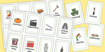 Three Syllable CL Flash Cards - three syllable, cl, flash cards, flash, cards, cl sound