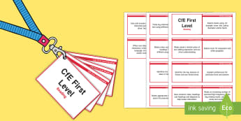 CfE First Level Reading Lanyard-Sized Benchmarks - first level reading assessment,Scottish, assessment, outcomes, curriculum, objectives, targets