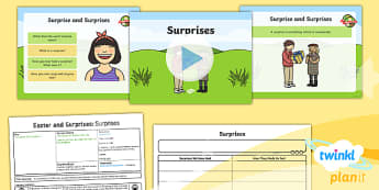 PlanIt - RE Year 1 - Easter and Surprises Lesson 4: Surprises Lesson Pack - easter, christianity, religious education, jesus, good friday, easter sunday