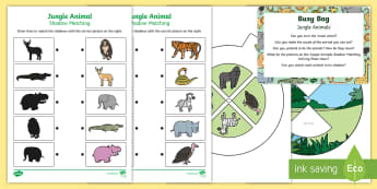 Jungle Animals Busy Bag Prompt Card and Resource Pack - Rumble in the Jungle, Giles Andreae, Rainforest, forest, elephant, chimpanzee, hippopotamus, snake,